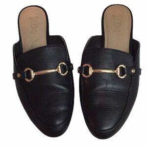 Brash Deidra Black Loafer Gold Accent Mule